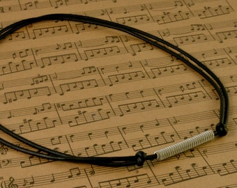 Adjustable Leather and Guitar String Necklace