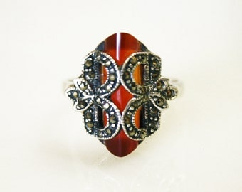 Vintage Carnelian Prism Ring / Sterling Silver and Marcasite / Size 8 1/2