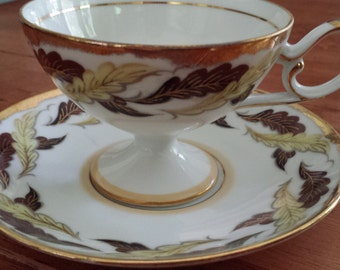 Vintage Shafford Japan Hand Painted Tea Cup and Saucer