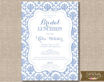 Bridal Shower Invitation, Bridal Luncheon Invitation, Damask Bridal Shower Invite, Periwinkle, KATIE