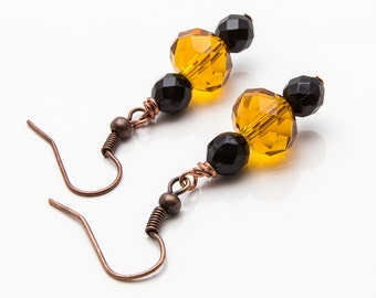 Glass Bead Earring, Black and Gold Earrings, Beaded Jewelry, Amber Dangles, Etsy Jewelry, Dangle Earrings, Gold and Black Jewelry,Cute Bead
