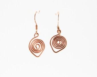 Copper Wire Earrings, Aztec Jewelry, Wire Work Designs, Metalwork Jewelry, Swan Earrings, Wire Spiral Earrings, Light Weight Jewelry,  Cute