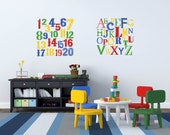 Alphabet wall decal - 123 wall decal -  Vintage letters and numbers - nursery wall decal - Vinyl decals - wall decals - ABC decal