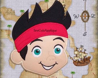 Jake Pirate Head No Sew Applique Patch