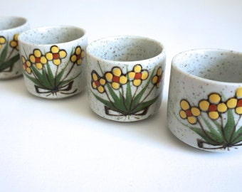 Set of Four (4) Stoneware Japanese Tea Cups with Yellow Flowers Mid Century Kitchen Made in Japan Otagiri - Floyd Jones Vintage