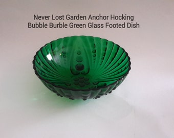 Bubble Burple Anchor Hocking Green Glass Footed Dish Vintage