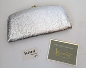 New-Old-Stock Vintage Silver Checkbook Wallet Pocketbook by Baronet Fifth Avenue - Has original tags and inserts