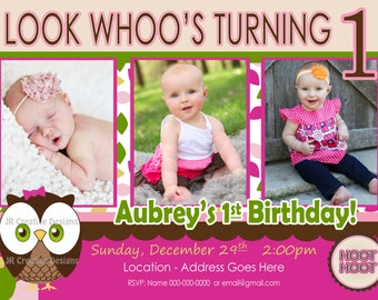 Look Whoos Turning one invitation owl invitation owl birthday - OWL Theme - Birthday Party Invite - 1st Birthday Girl photo pictures 1 year