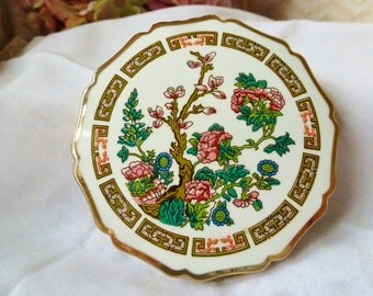 VINTAGE Compact STRATTON England COMPACT..Floral/Enamel Top Never Used Collectible Compact Vintage Compacts By Vintagelady7