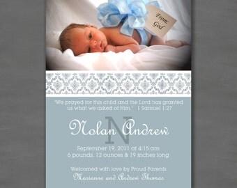 Baby Boy Photo Birth or Adoption Announcement; Blue Damask