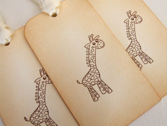 New Baby Boy Gift Tag : Giraffe baby shower gift tags set of new boy or girl