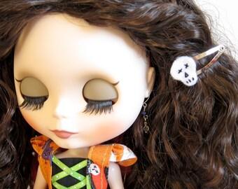 Skull Barrettes for Blythe, Pullip Dolls - Felt Hair Clips for Halloween, Dia De Los Muertos