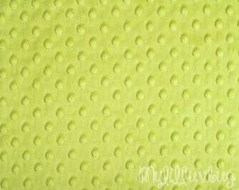 Minky fabric by the yard- Green Apple minky dimple fabric- minky dot fabric