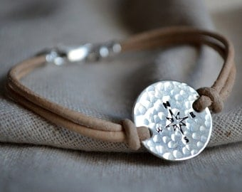 Sterling Compass Bracelet - Customize - Hand Stamped - Find Your Way