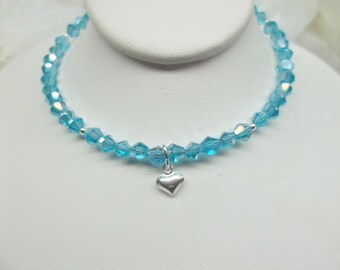 Baby Necklace Aquamarine Necklace Blue Necklace Crystal Necklace Girls Necklace Adjustable Necklace 925 Sterling Silver BuyAny3+1 Free