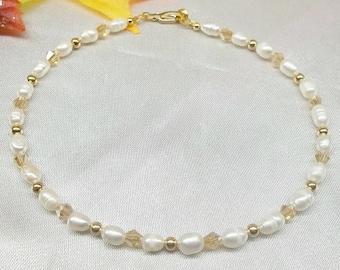 Real 14k Gold Ankle Bracelet Solid 14k Gold Anklet Real 14kt Gold Anklet or Real 14k Gold Bracelet White Pearl Anklet Stamped BuyAny3+1Free