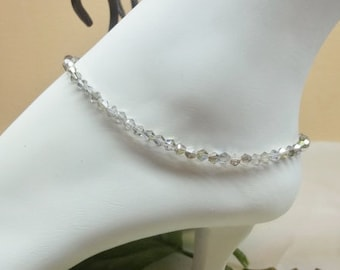 Silver AB Crystal Anklet Crystal Ankle Bracelet Gray Ankle Bracelet 100% 925 Sterling Silver or Plated BuyAny3+Get1Free