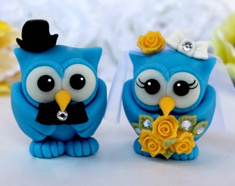 Dazzling blue owl wedding cake topper, customizable love birds with banner