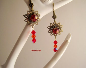 Clearance SALE : Delicate Ruby Blossoms - Filigree Flower Earrings With Swarovski Crystals