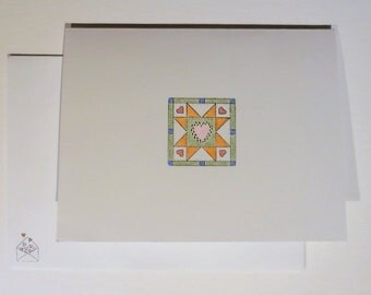 Quilt Block Greeting Cards, Hand Colored Cards, Blank Greeting Cards, Quilt Cards, Orange Star Cards, Set of 8