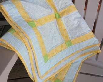 Bright Colored Baby Quilt, Plaid Quilt, Circle Quilt, Yellow Quilt, Green Quilt, Blue Quilt, Baby Quilt