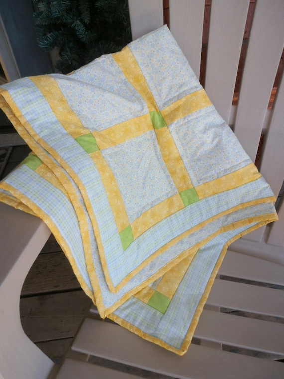 Plaid Baby Quilt: Bright Colored Baby Quilt Plaid Quilt Circle Quilt Yellow