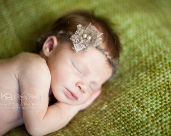 newborn photography prop-baby photo prop-light brown tie back halo headband lace flower beads, baby shower gift, spring easter headband