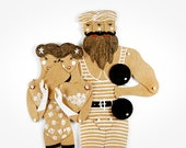 Circus Freaks Siamese couple - Articulated Art Paper Doll by Dubrovskaya. Handmade and hand painted gift.