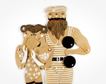 Circus Freaks Siamese Twins and Strongman articulated paper dolls, hand painted paper puppets, greeting card, paper dolls by dubrovskaya