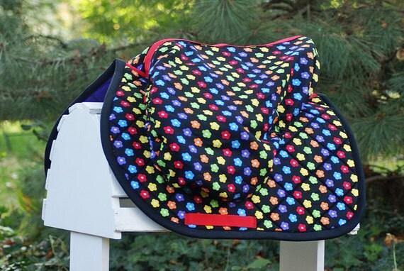 Ready To Ship - Rainbow Daisy Close Contact PONY Saddle Pad and Cover SET