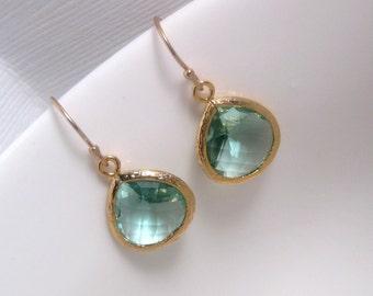 Simple Earrings - Prasiolite - Light Green Drop Earrings With 14k Gold