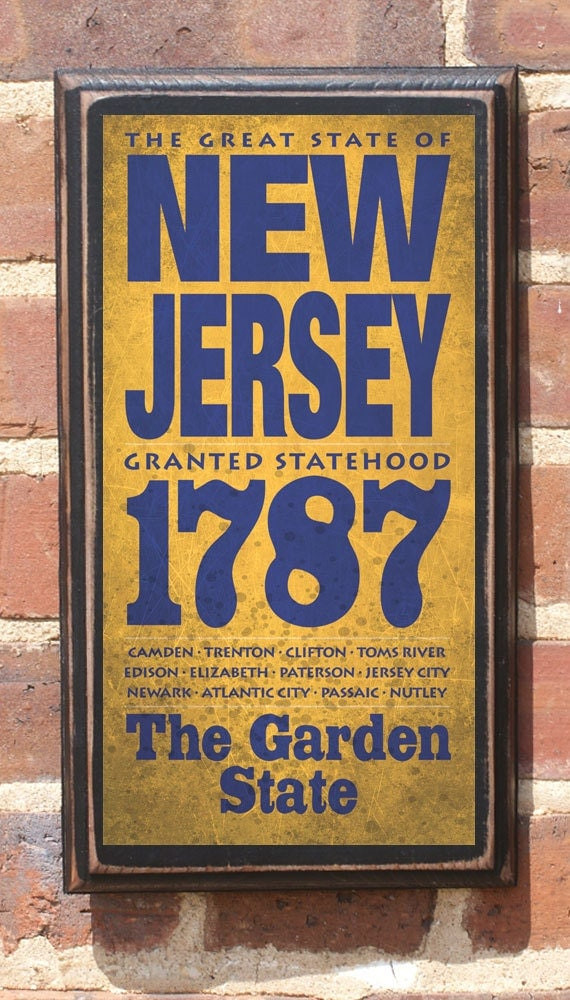 New Jersey Nj Wall Art Sign Plaque Gift Present Home Decor