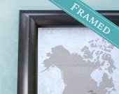 12x18  FRAMED Wedding Guest Book Alternative World Map  -  Custom Designed Map