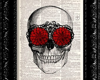 Skull With Red Flowers - Steampunk Anatomy Art  - Vintage Dictionary Print Vintage Book Print Page Art Upcycled Vintage Book Art