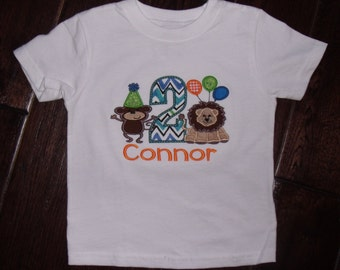 Boutique Birthday Zoo Themed Boy's shirt.  Sizes 6M to 14 Youth Long Sleeves or Short
