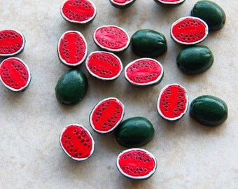 Watermelon Bead - 13mm Small Ceramic Watermelon Halves - Handcrafted Fruit Pendant - Bead, 1 PC (INDOC45)
