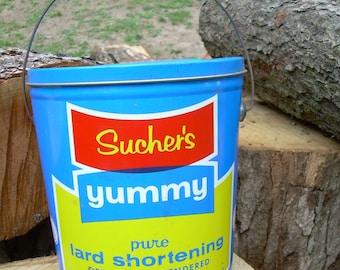 Vintage Sucher's Yummy Lard Bucket - Pie Crust Recipe On Back - OH