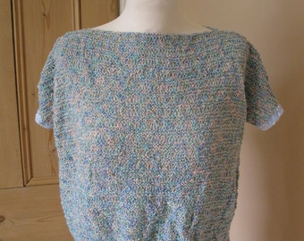 Vintage 1980s size 12 hand knitted pastel jumper
