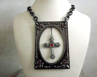 The Fleur De Lis Necklace, avant guarde, gunmetal, gorget Cross, large necklace, Goth