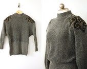 1980s silk angora and wool blend sweater // vintage sweater with studded epaulets // slouchy vintage sweater // fits small - medium - large