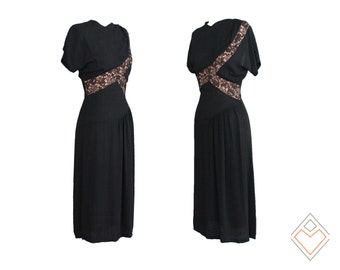 vintage dress // 30s - 40s vintage black dress / Asymmetrical Illusion / size extra small // apricot lace