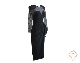 1990s - late 80s black body con dress with sheer sleeves and soutache and rhinestone embellished shoulder pads // size XS
