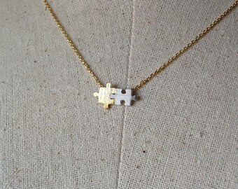 Gold Puzzle Necklace, Dainty Necklace, Gold and Silver Puzzle Necklace