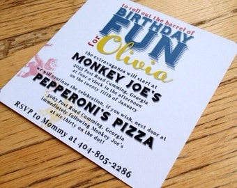 Retro Monkey Birthday Invitation