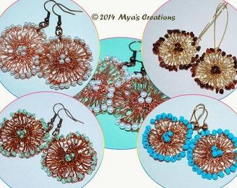 PDF Pattern, Beaded Wire Crochet Flower Earrings Tutorial, How to make a crochet wire flower earrings, Floral Earrings Tutorial