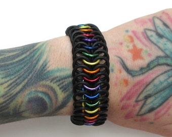 LGBT bracelet, stretchy chainmail bracelet, rainbow gay pride jewelry