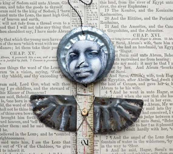 Guardian Angel primitive black african american art doll / ornament  Original Art by Elizabeth Rosen