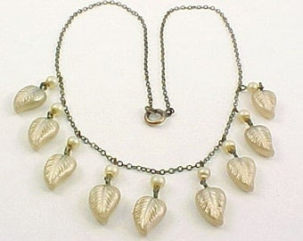 Victorian Gold Filled Chain Bib Necklace - Faux Pearl and Glass Leaf Dangles - Antique Wedding Necklace - Statement Necklace