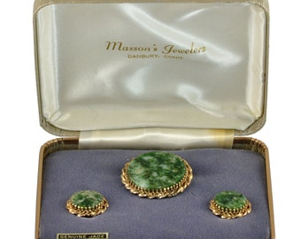 Vintage 1960's Gold Filled Pin / Earring Set - Genuine Jade Brooch and Earring Set - Jade Earrings with Screw Back - Green Costume Jewelry