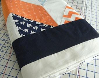 Boy's Nautical  Crib Blanket Bedding or Toddler Quilt Handsewn Chevron Orange Navy Grey